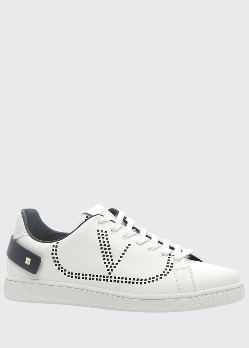 Valentino Garavani Men's Net Low-Top Leather Logo Sneakers
