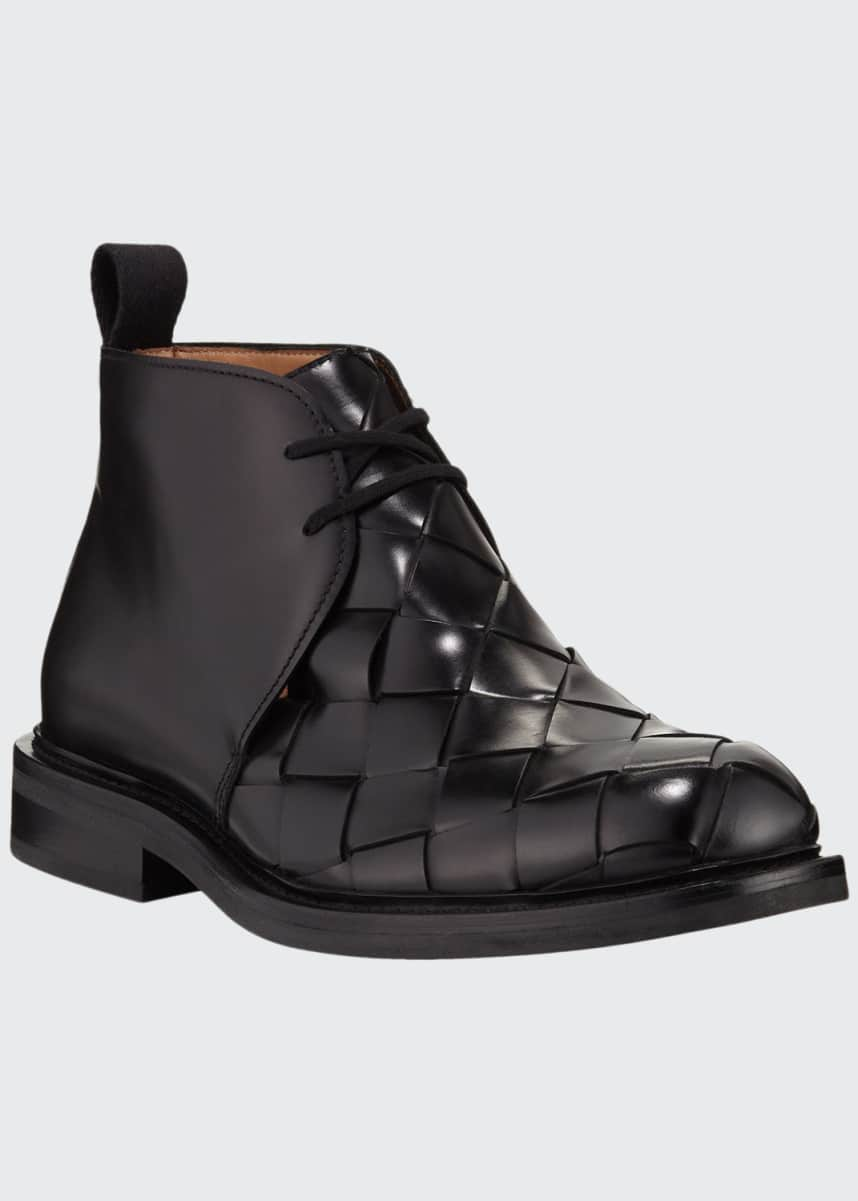 Bottega Veneta Men's Intrecciato Woven Leather Chukka Boots