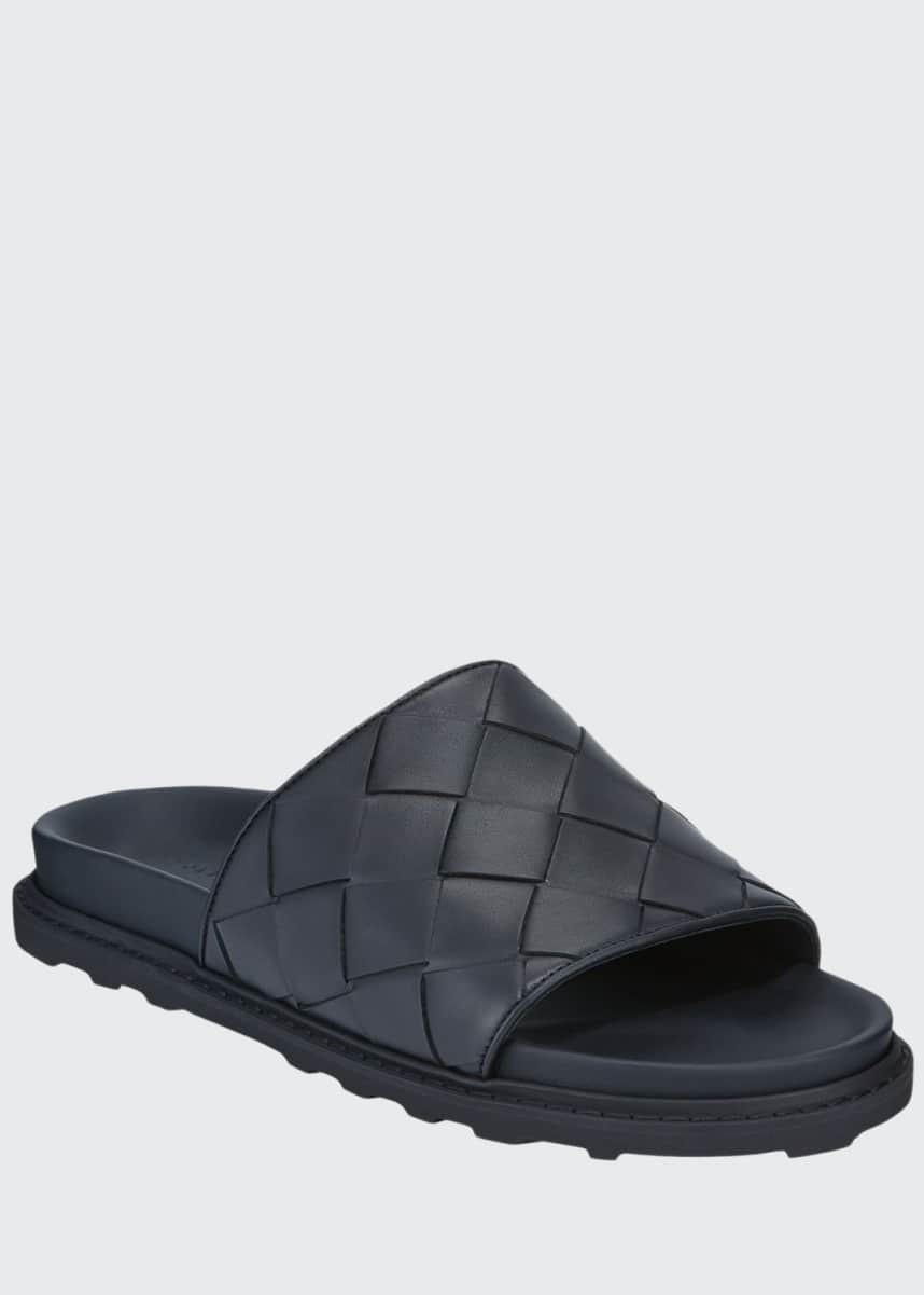 Bottega Veneta Men's Intrecciato Leather Pool Slides