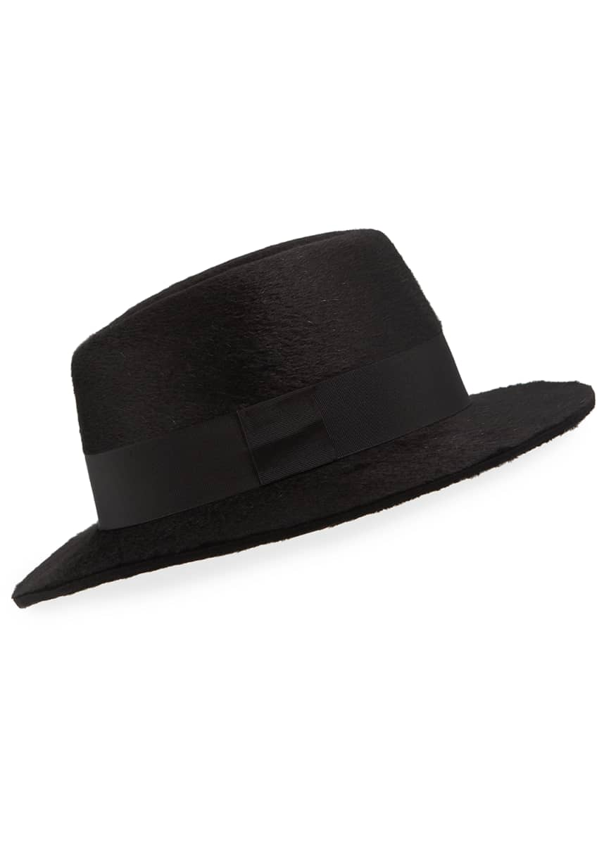 Saint Laurent Men's Rabbit Felt Fedora Hat