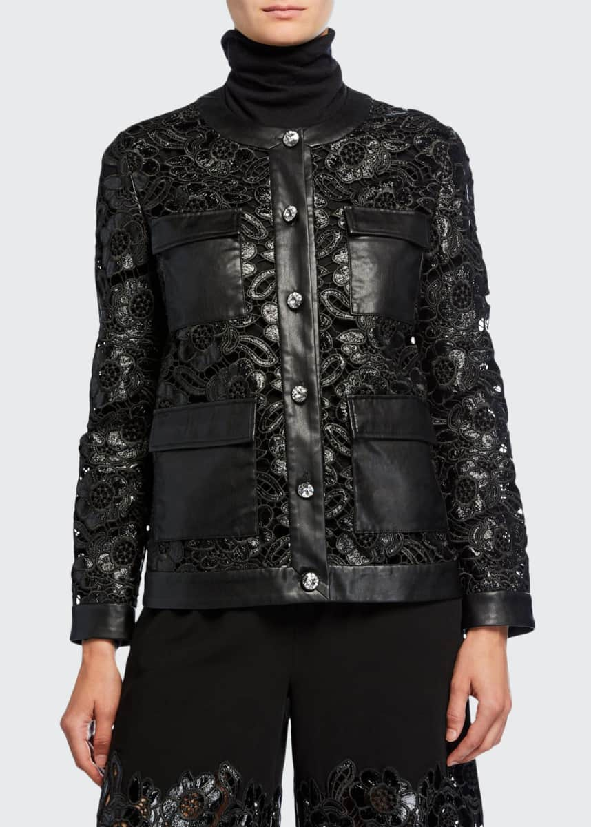 Huishan Zhang Leather Lace Button-Front Jacket