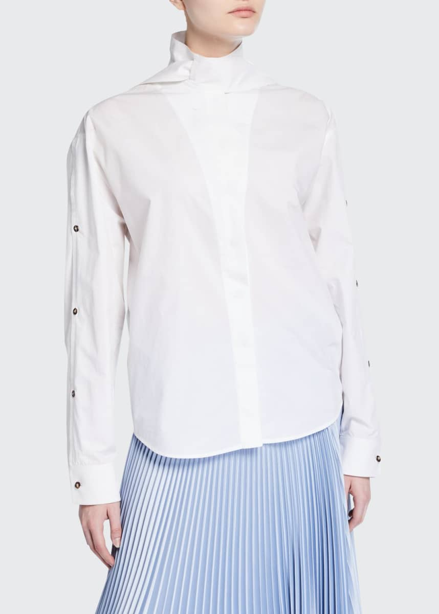 Cedric Charlier High-Neck Poplin Blouse