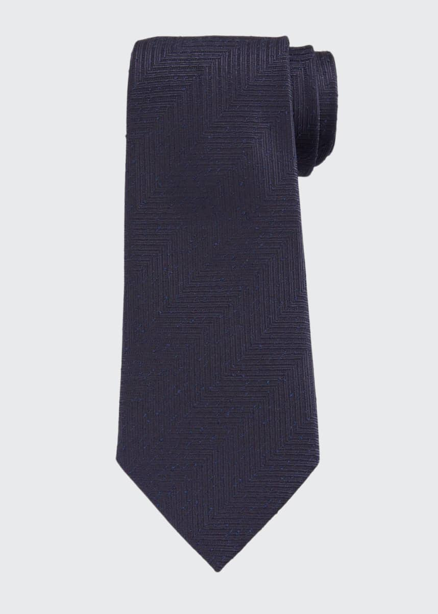 Ermenegildo Zegna Men's Large Chevron Silk Tie, Navy