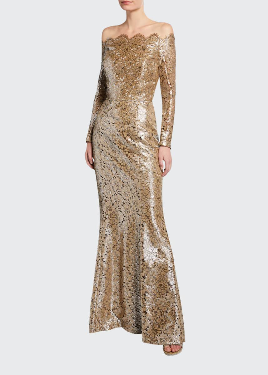 Roland Nivelais Off-the-Shoulder Belted Metallic-Lace Gown