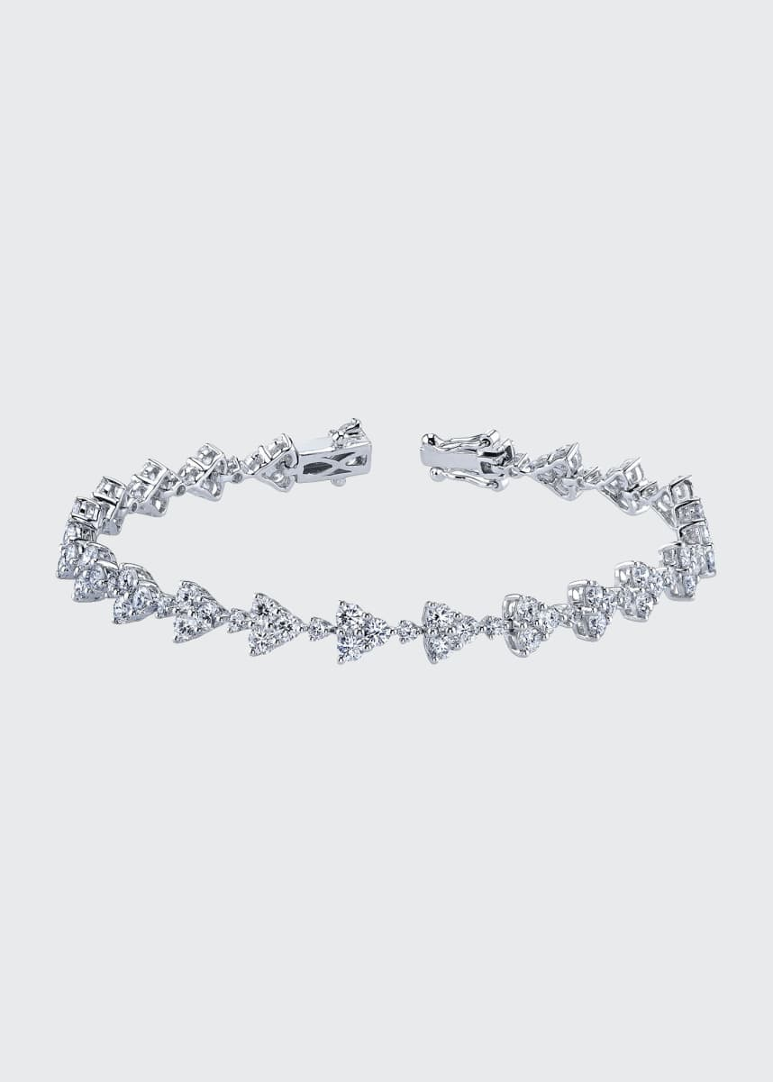 Anita Ko 18k White Gold Diamond Triangle Eternity Bracelet