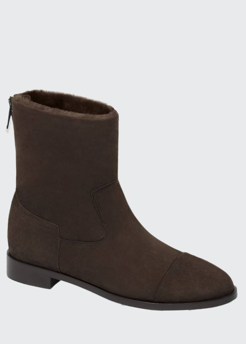 Bougeotte Suede and Shearling Biker Booties