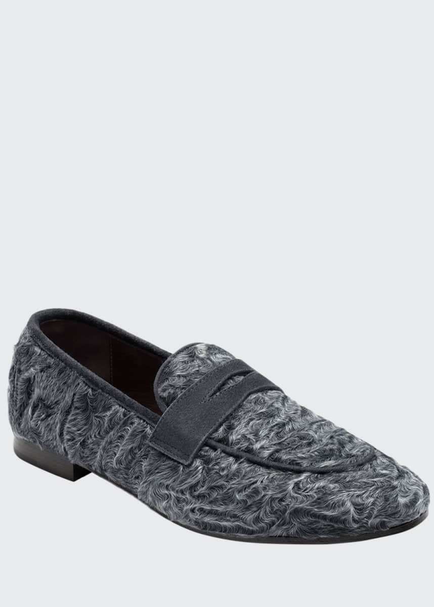 Bougeotte Swakara and Suede Loafers