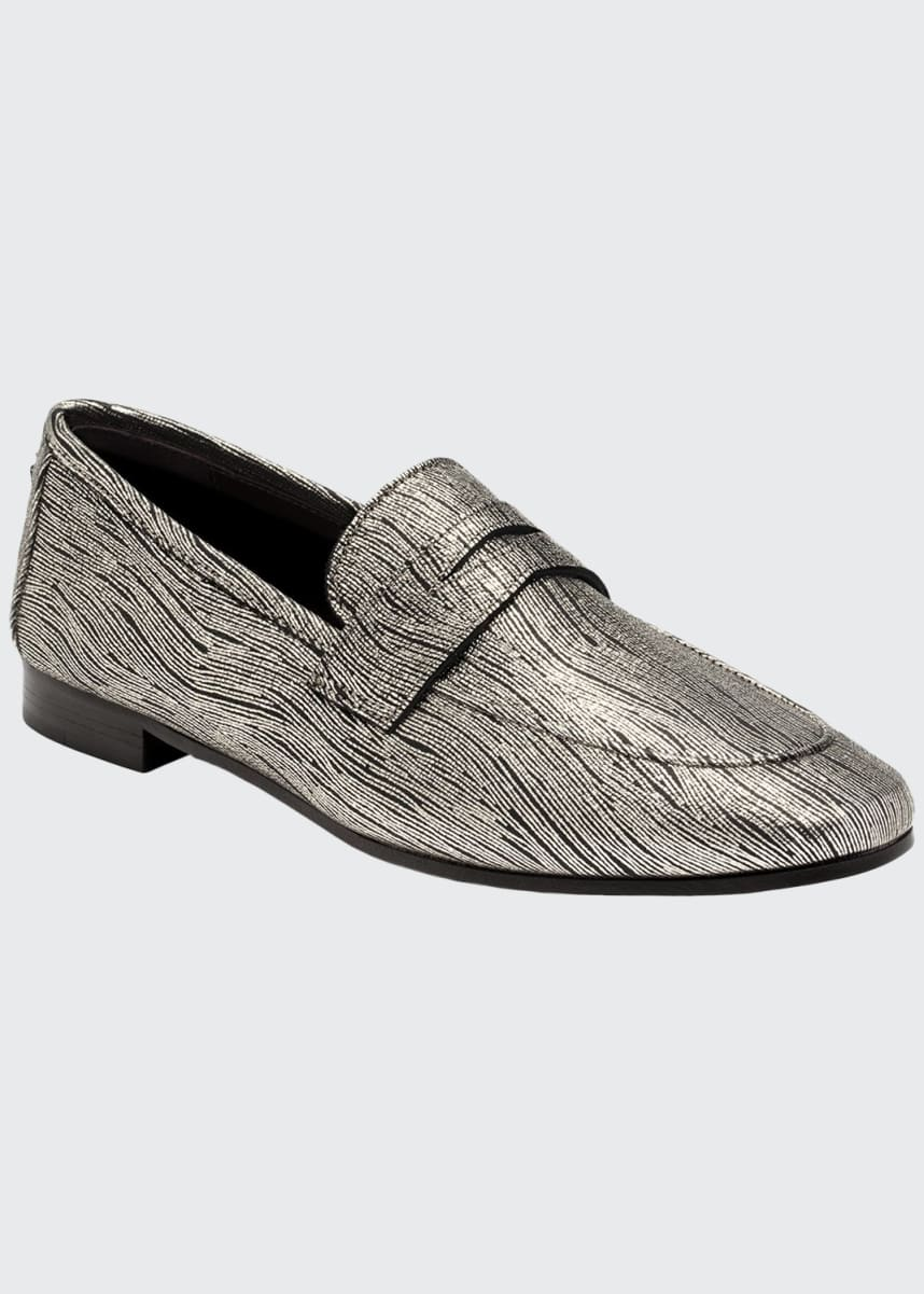Bougeotte Wave Metallic Leather Loafers