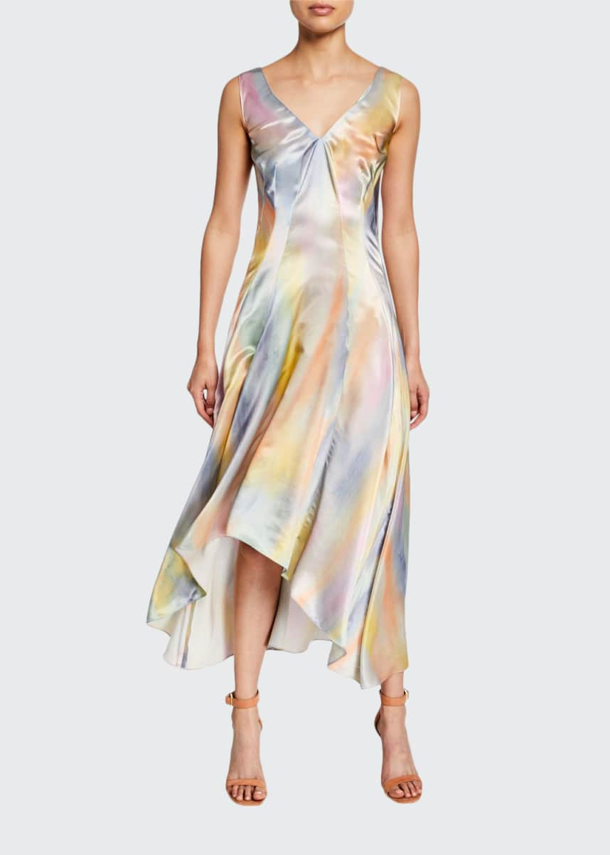Sies Marjan Tie-Dye Satin Asymetric Midi Dress