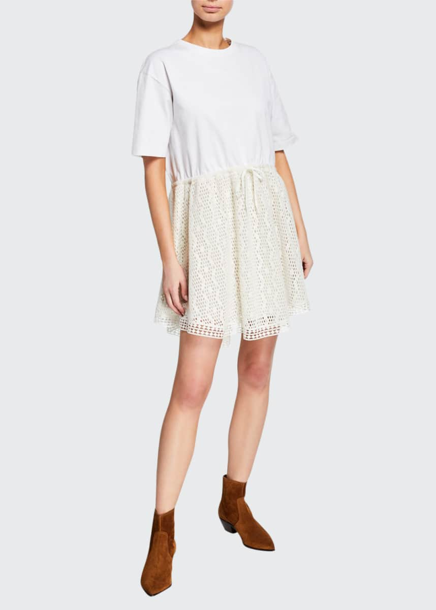 See by Chloe Crewneck Tie-Waist Lace Tee Dress