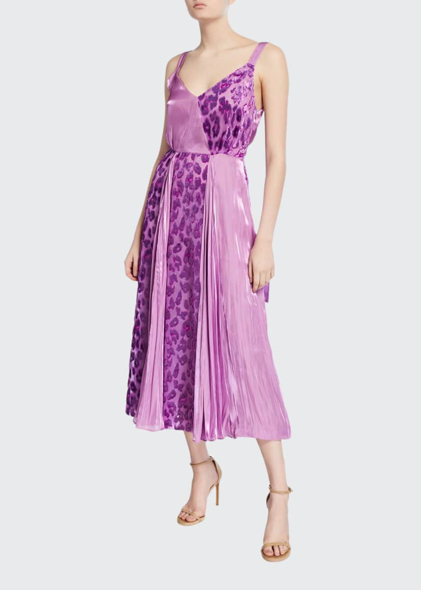 REJINA PYO Rosa Pleated Leopard-Print Cocktail Dress