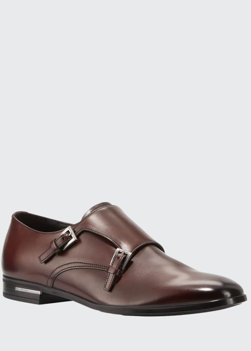 Prada Men's Fondo Gomma Leather Double-Monk Shoe