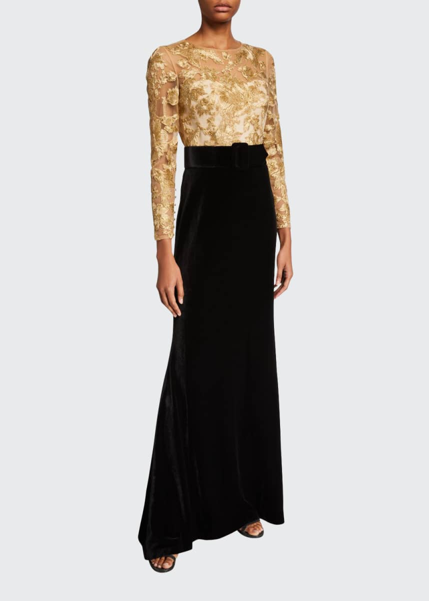 Badgley Mischka Couture Lace Bodice Velvet Skirt Gown