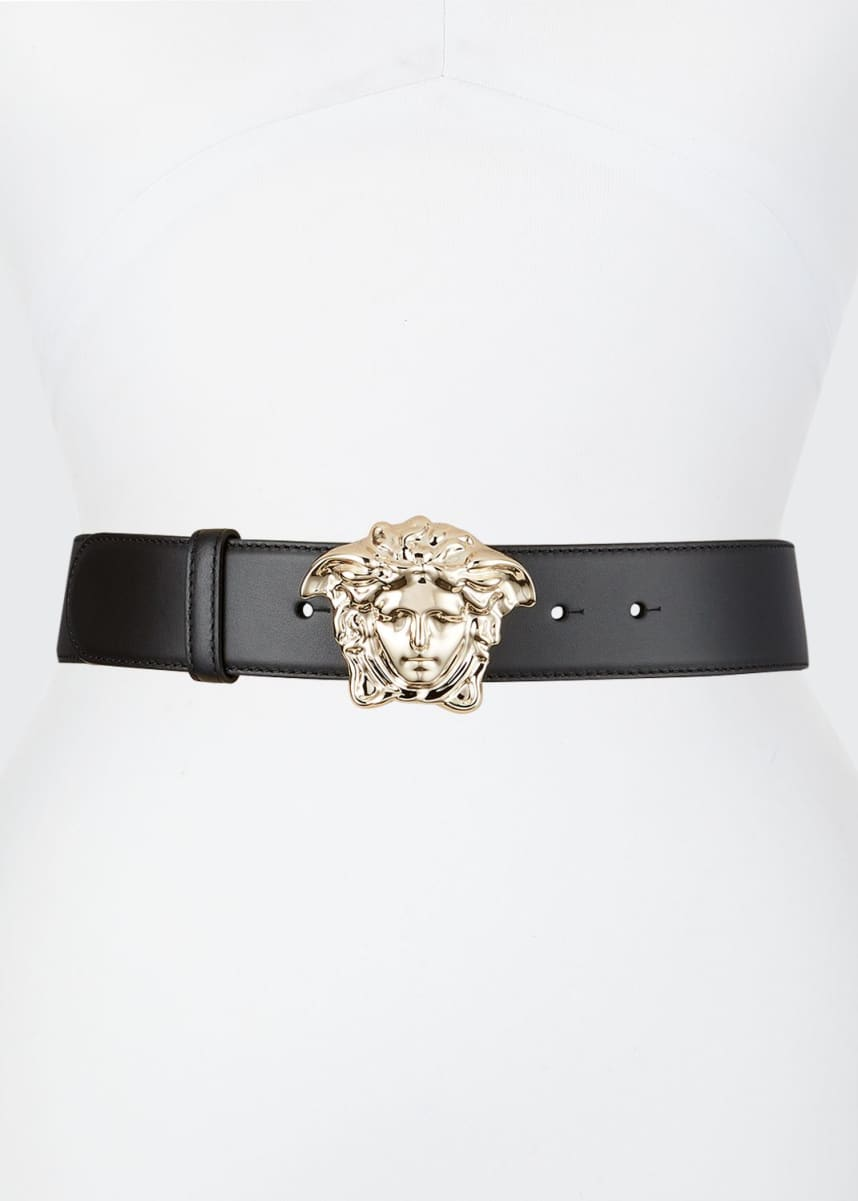 Versace Leather Belt w/ Medusa Buckle