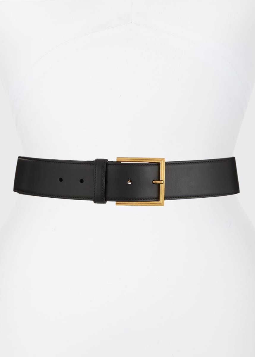 Versace Leather Belt w/ Logo Lettering Hardware
