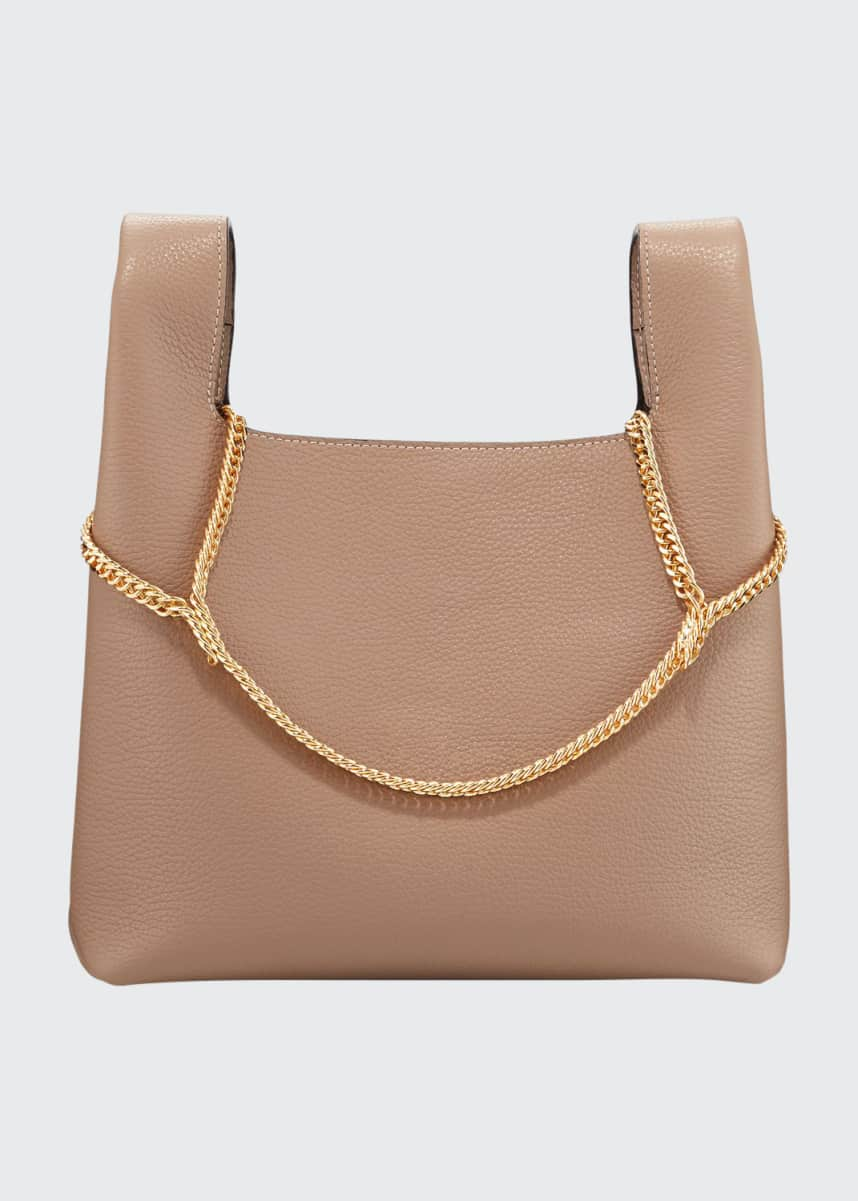 Hayward Pebbled Leather Chain Bag, Beige