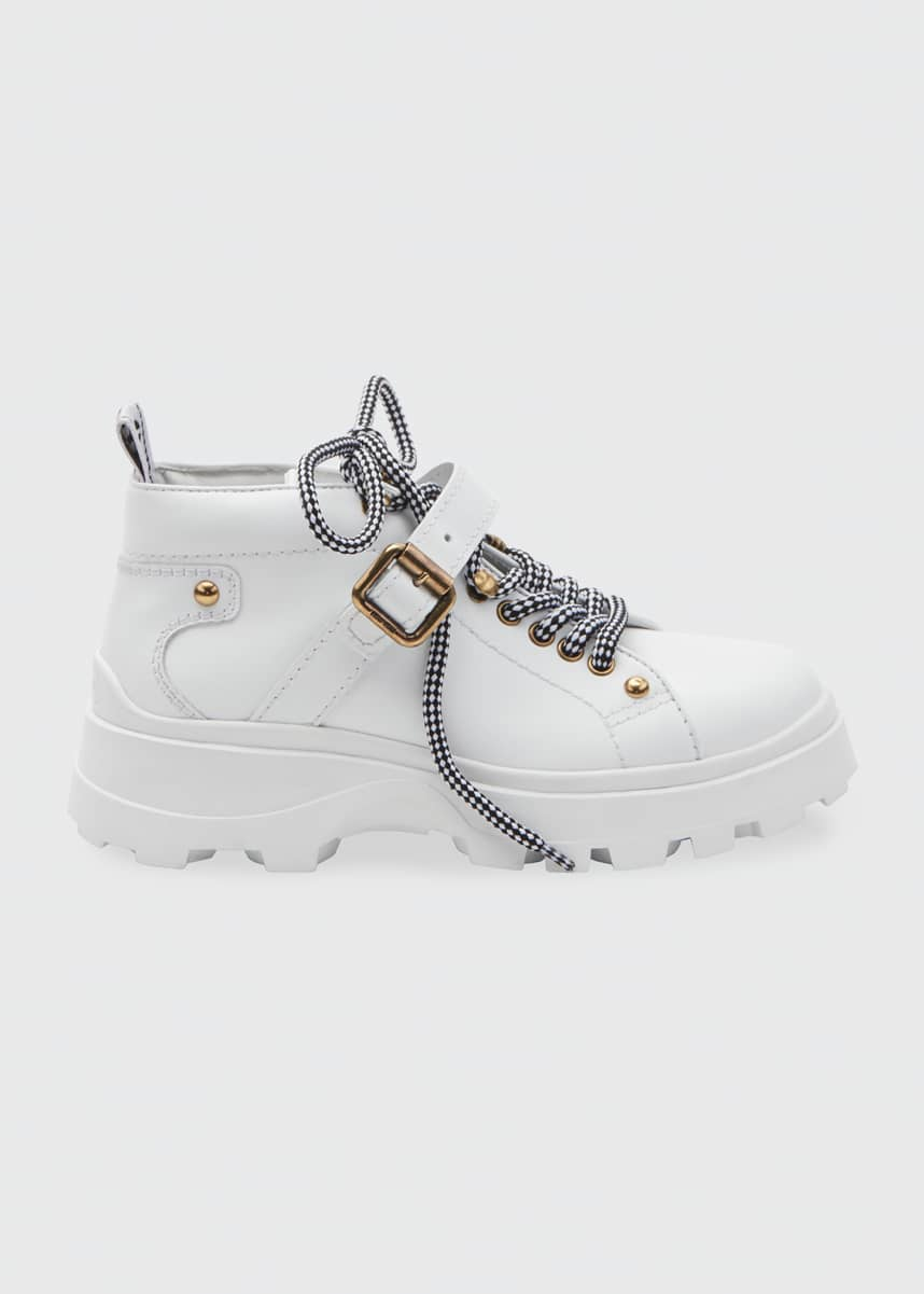 Miu Miu Low-Top Leather Lug Sole Hiker Booties
