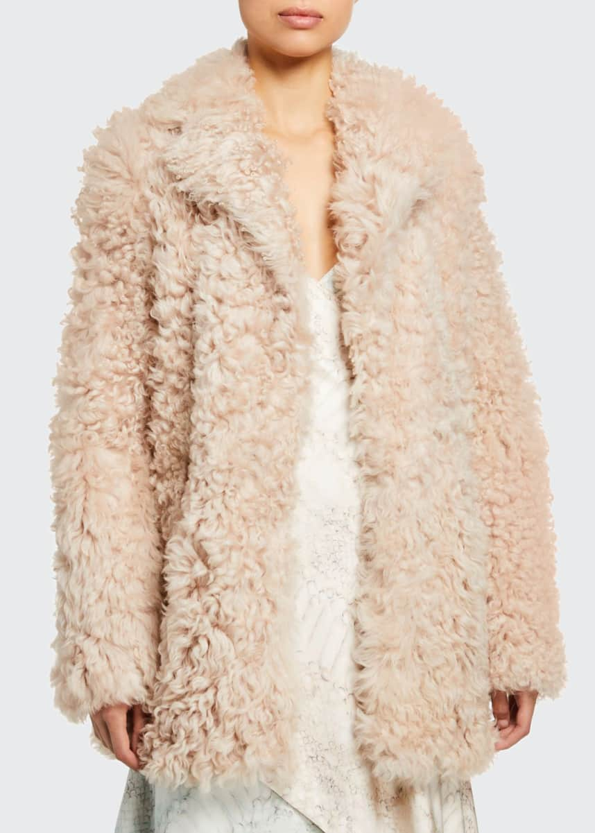 Sies Marjan Oversized Curly Shearling Pea Coat