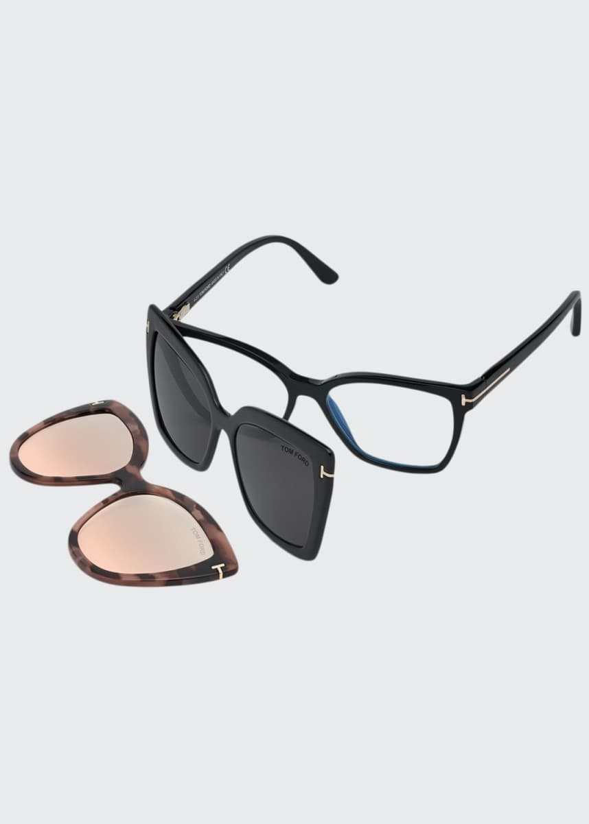 TOM FORD Square Optical Frames w/ Two Magnetic Sunglasses Clips