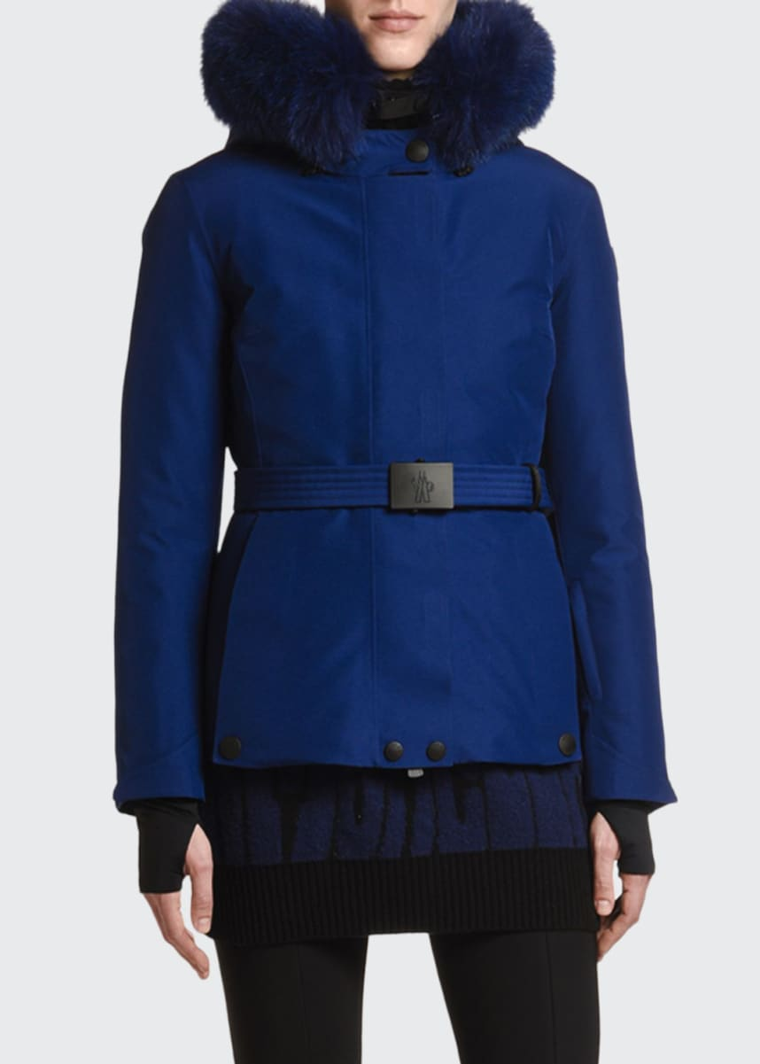 Moncler Grenoble Laplance Belted Jacket w/ Fur Collar