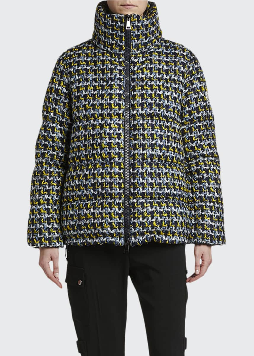 Moncler Elby Tweed Puffer Coat