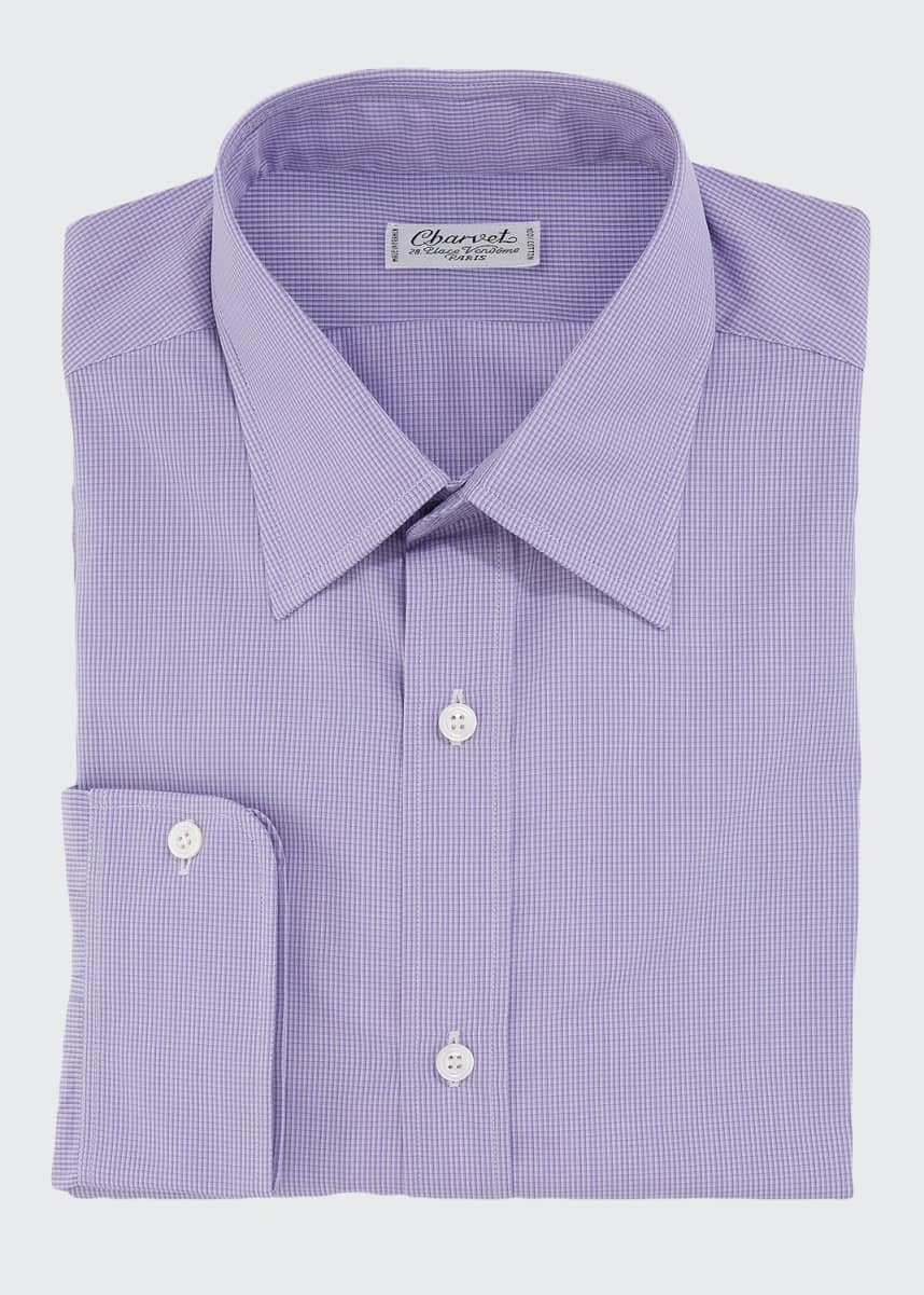 Charvet Men's Check Cotton Dress Shirt