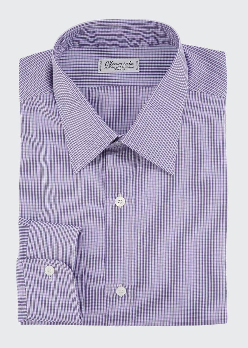 Charvet Men's Checker Cotton Dress Shirt
