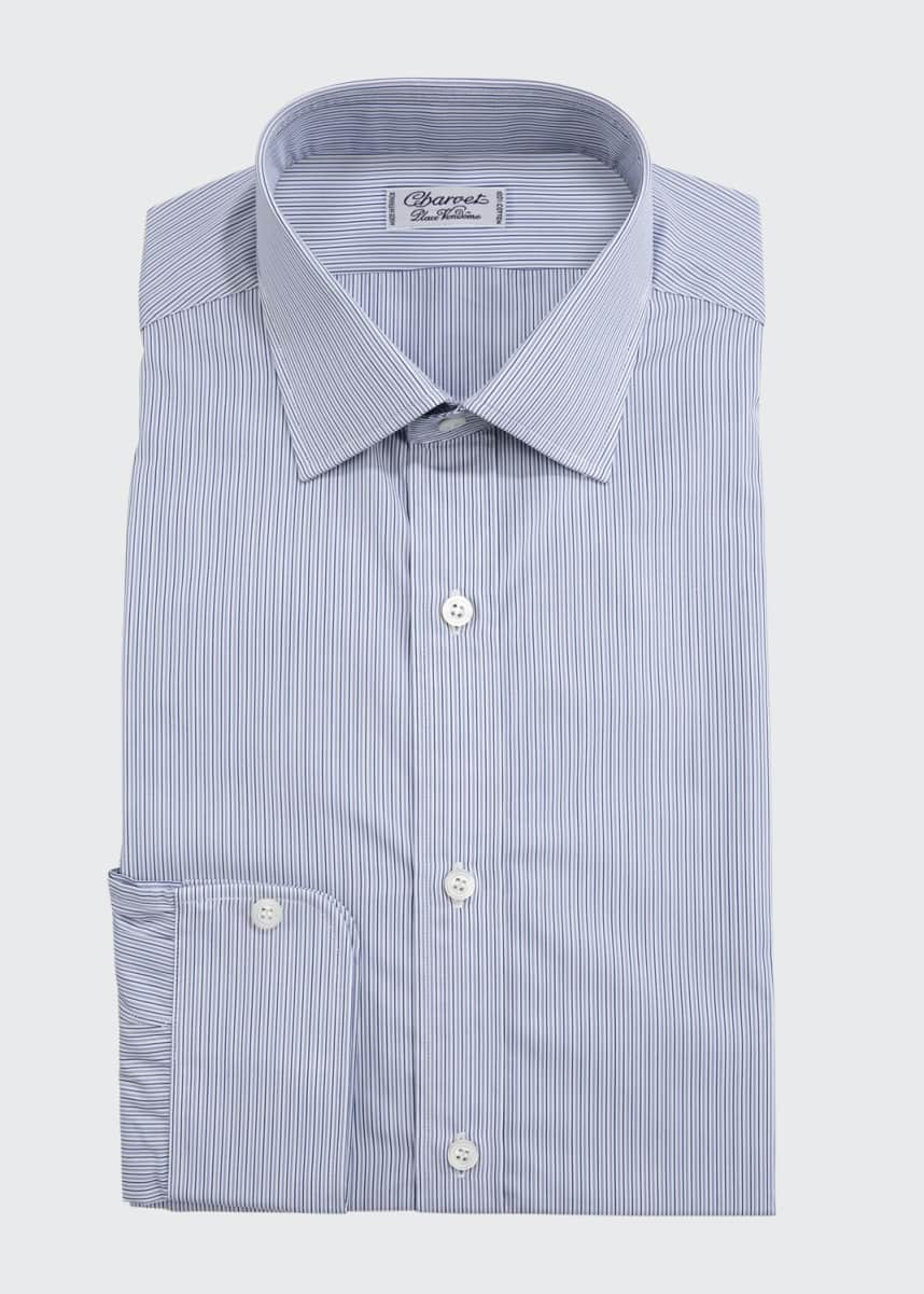 Charvet Men's Slim Darted Stripe Dress Shirt