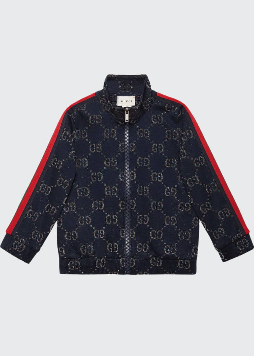Gucci Metallic GG Jacquard Jacket w/ Web Trim Sleeves, Size 4-12