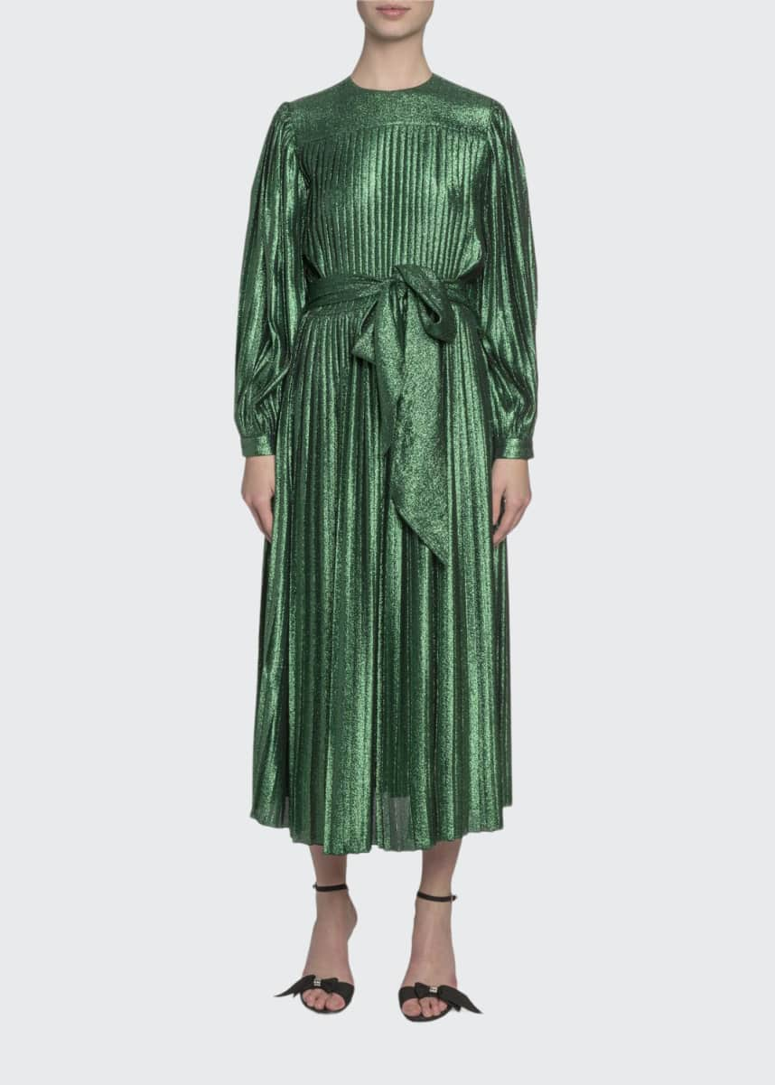 Marc Jacobs (Runway) Pleated Lame Self-Tie Midi Dress