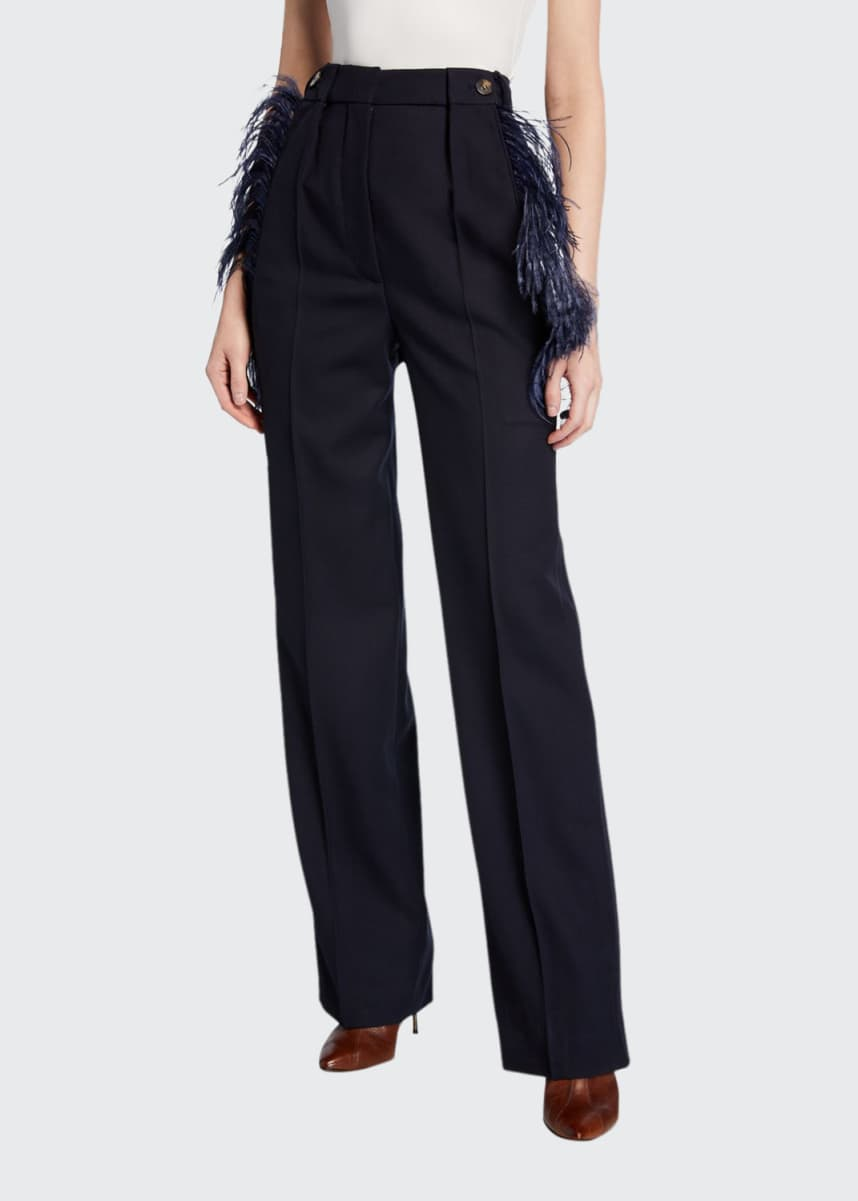 Cedric Charlier Feather-Trim Wool Trousers