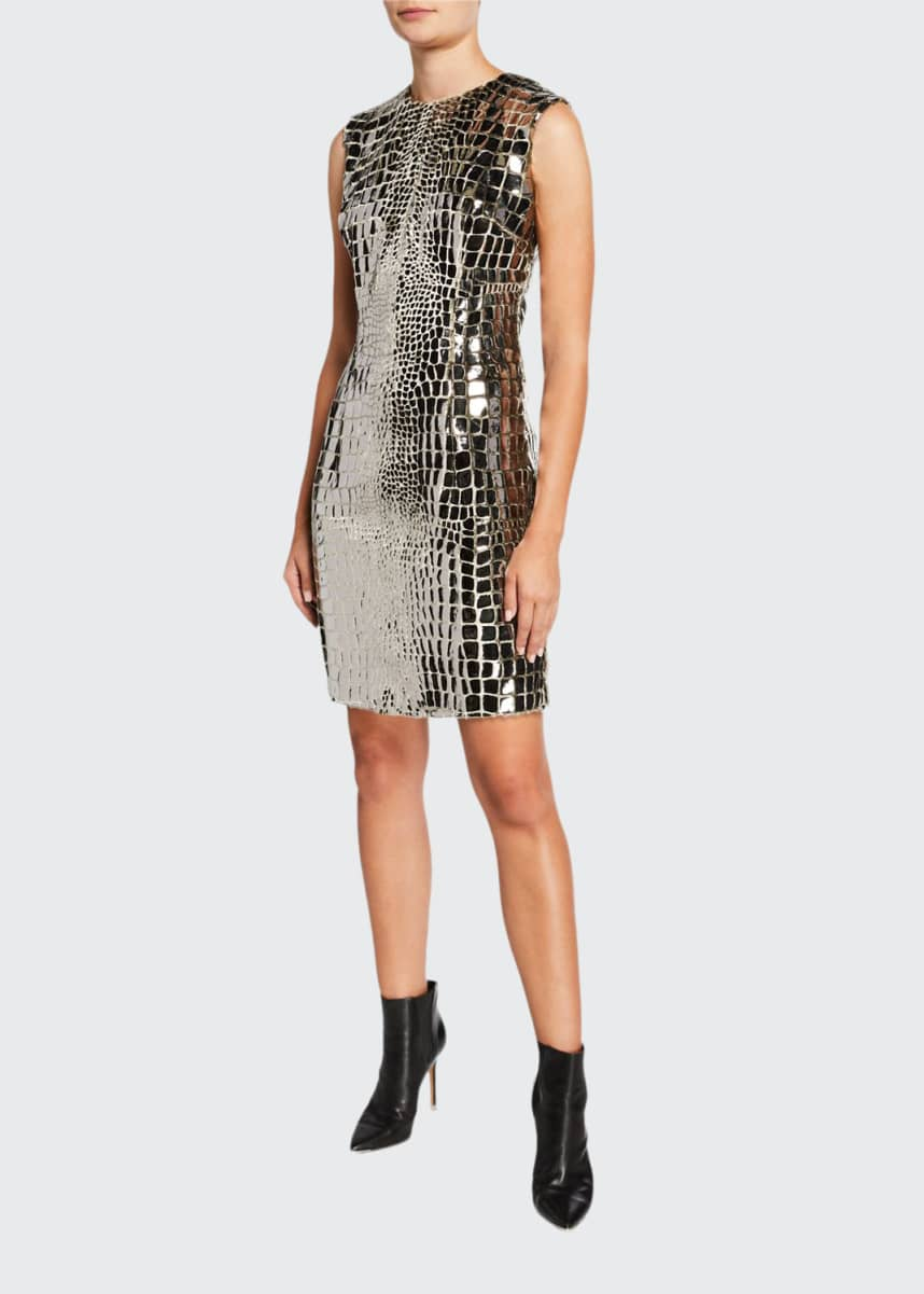 Roland Nivelais Metallic Snakeskin Cocktail Dress