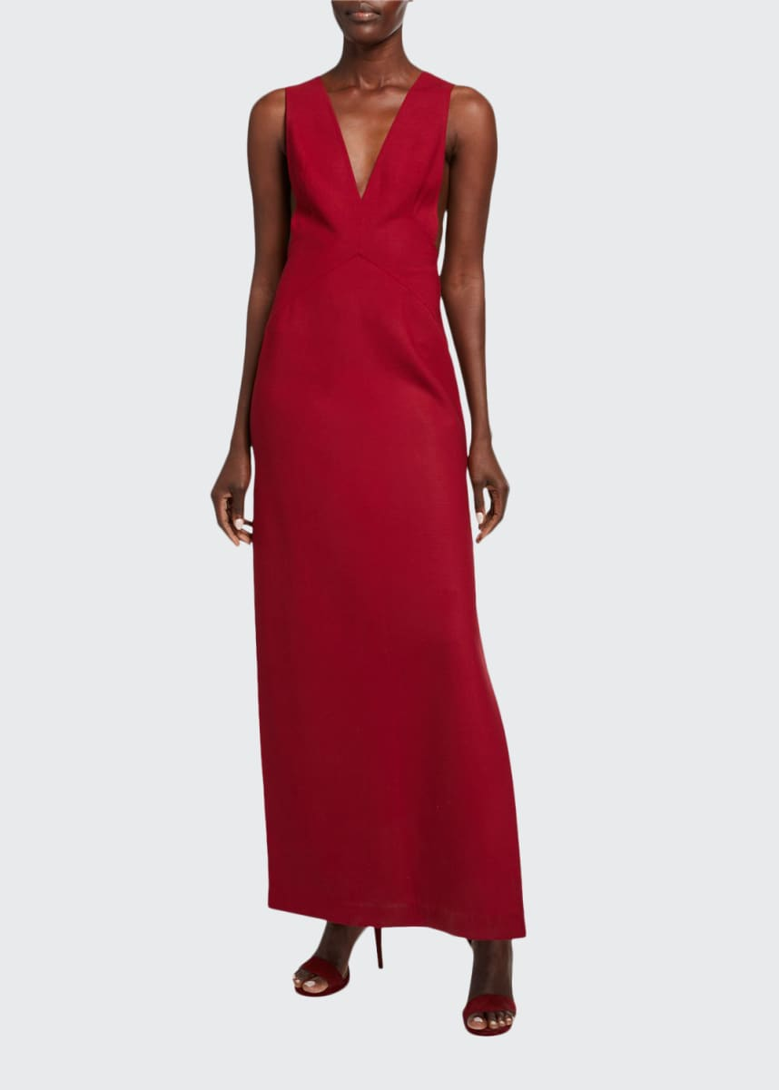 Tre by Natalie Ratabesi Stretch Wool V-Neck High-Slit Gown