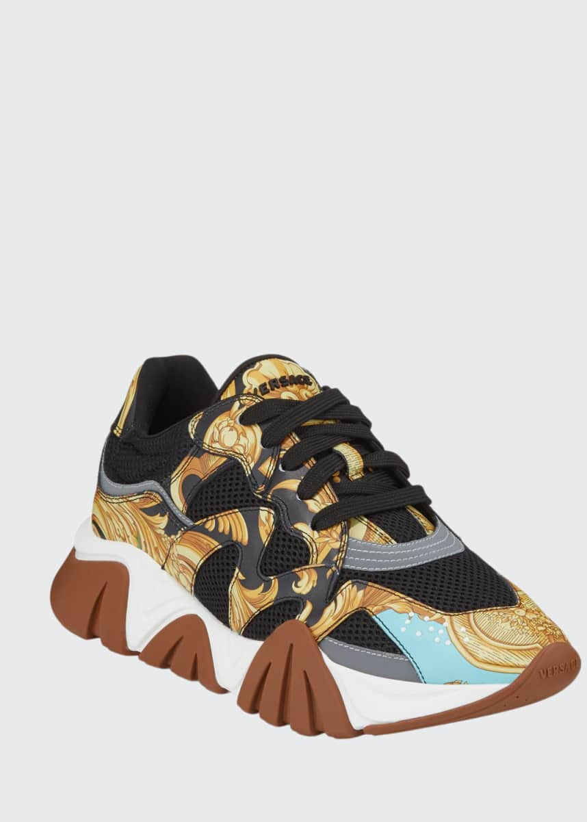 Versace Men's Squalo Mesh & Baroque-Print Leather Sneakers