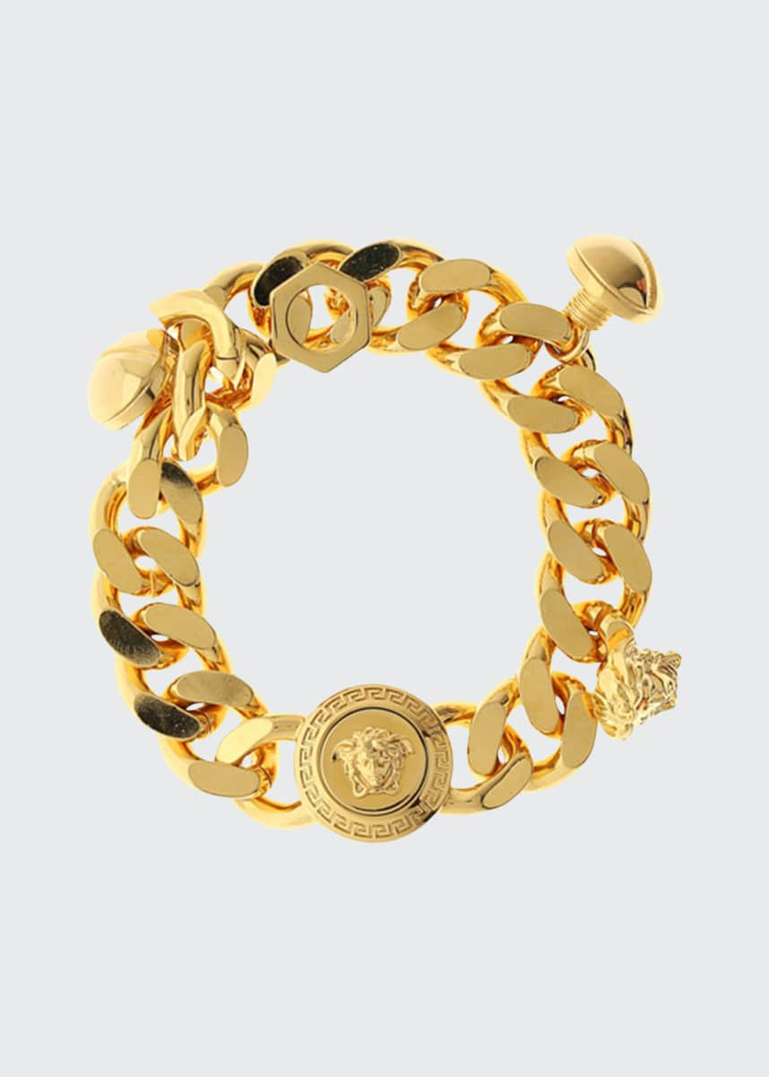 Versace Men's Medusa Blackened Chain Charm Bracelet