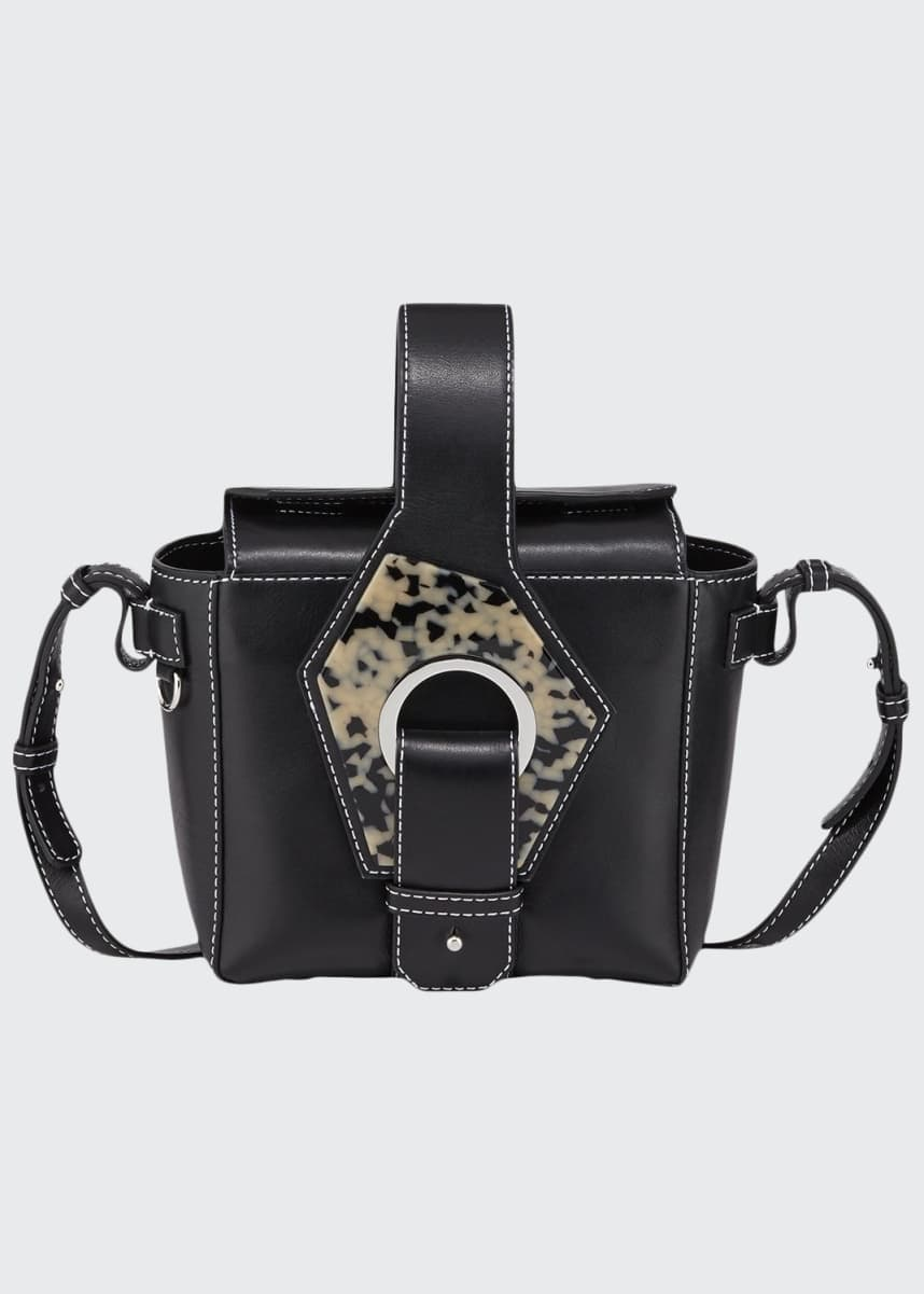 Ganni Leather Square Bucket Bag