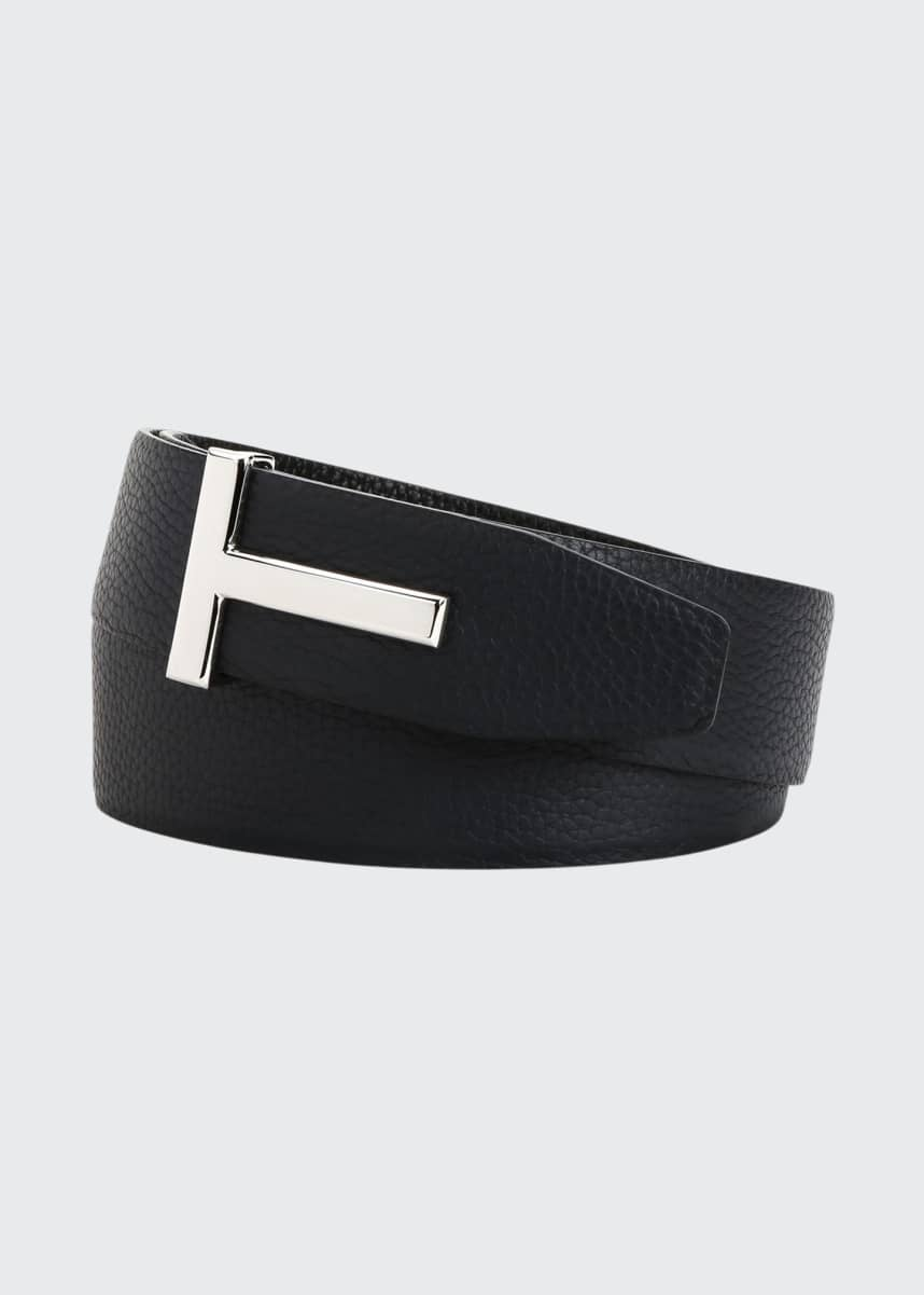 TOM FORD Men's Signature T Reversible Leather Belt