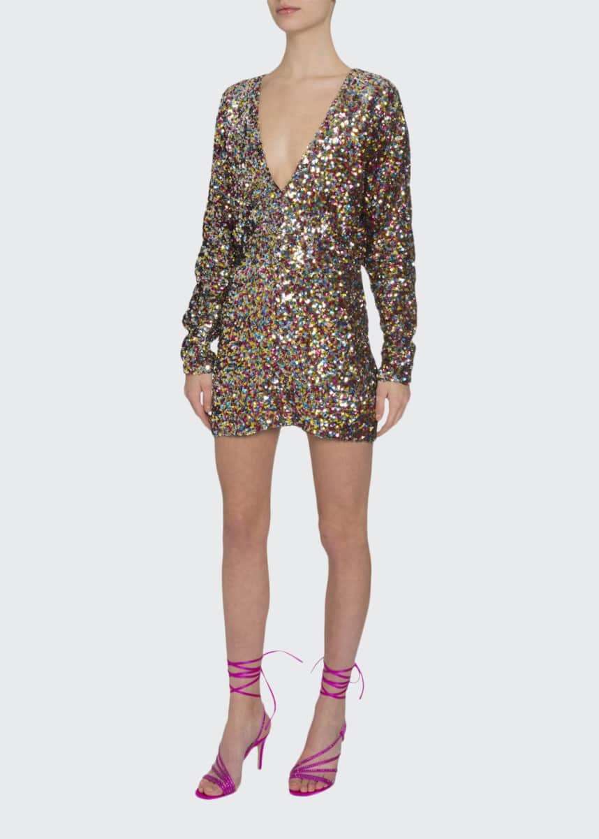 The Attico Sequined V-Neck Long-Sleeve Mini Dress