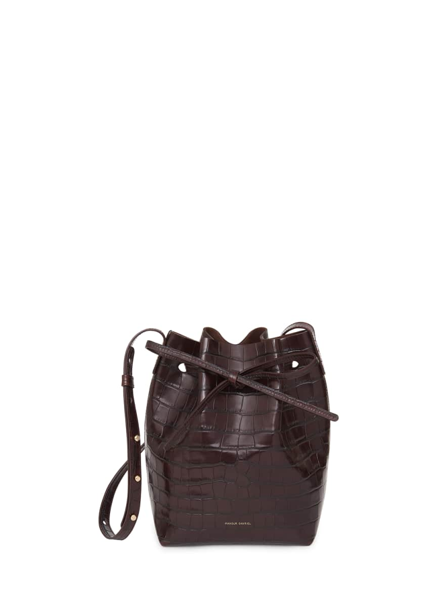 Mansur Gavriel Mini Crocodile-Embossed Bucket Bag