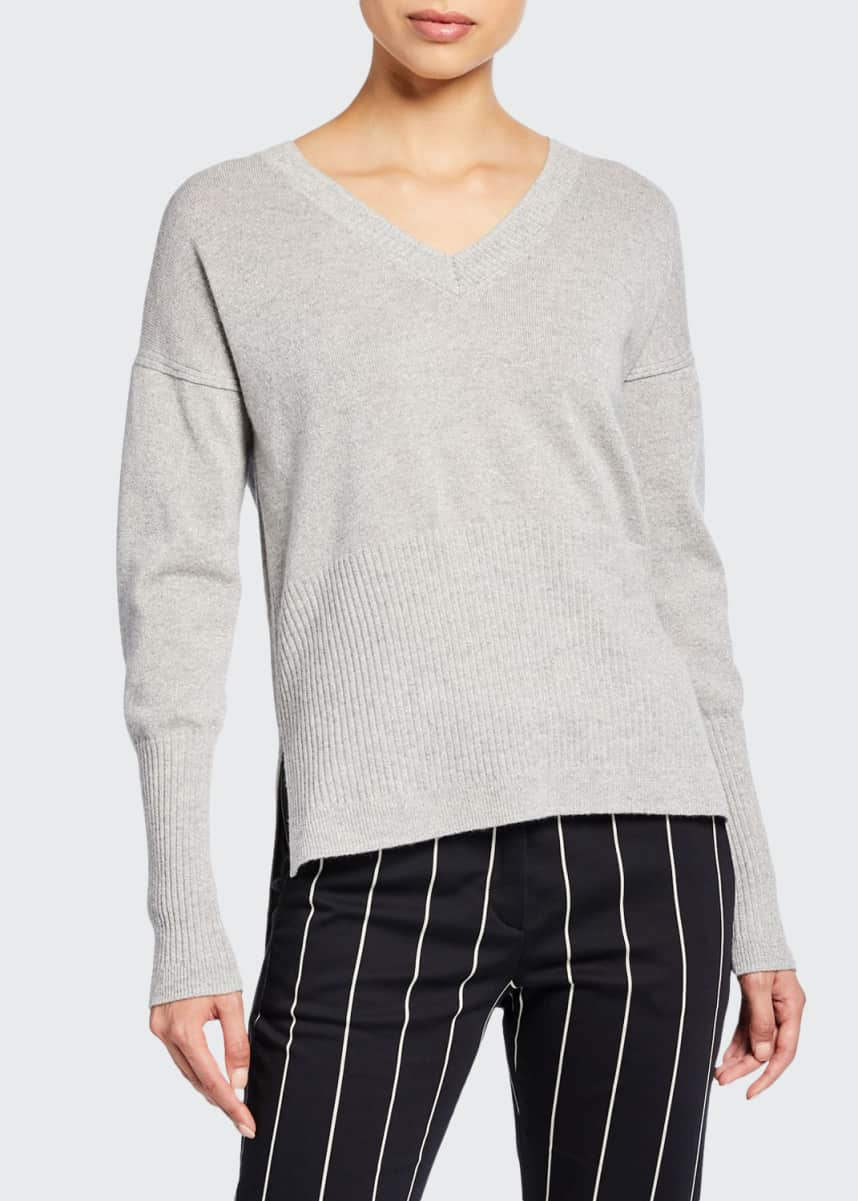 Derek Lam 10 Crosby Wooster V-Neck Wool-Cashmere Sweater