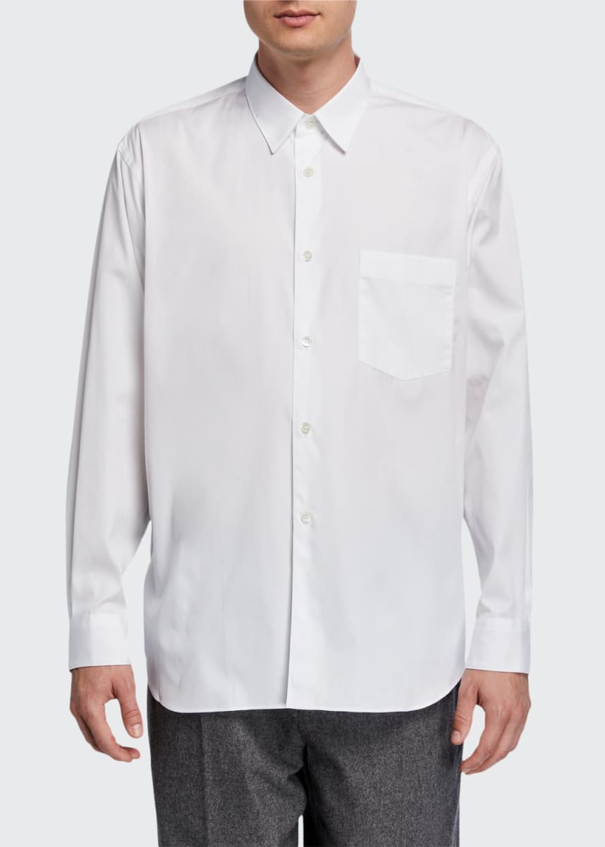 CDG Shirt Forever Men's Solid Poplin Point-Collar Sport Shirt