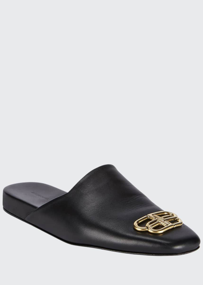 Balenciaga Men's BB-Buckle Leather Mule Slippers