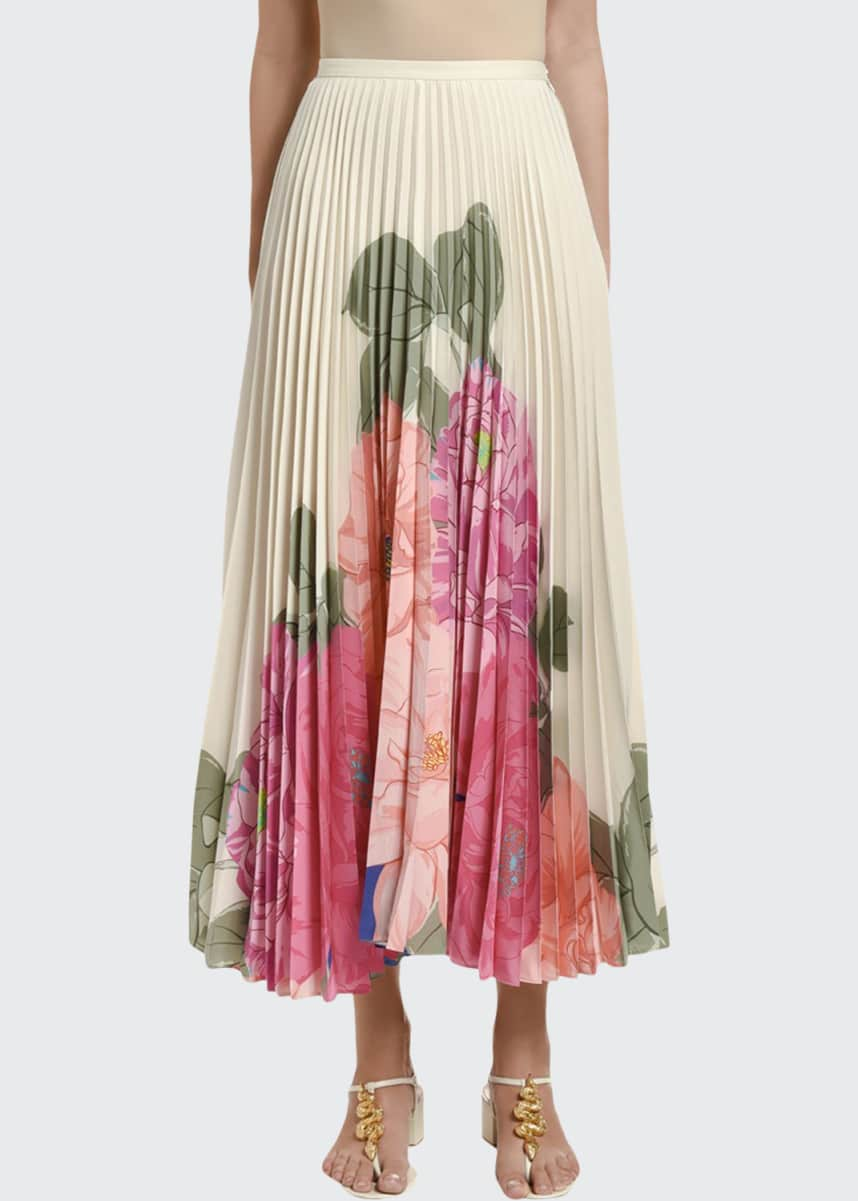 Valentino Floral-Print Pleated Midi Skirt