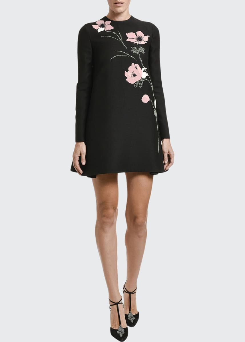 Valentino Floral-Embroidered Long-Sleeve shift Dress