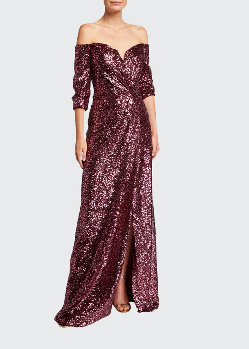 Rene Ruiz Sequin Off-the-Shoulder 1/2-Sleeve Gown with Slit