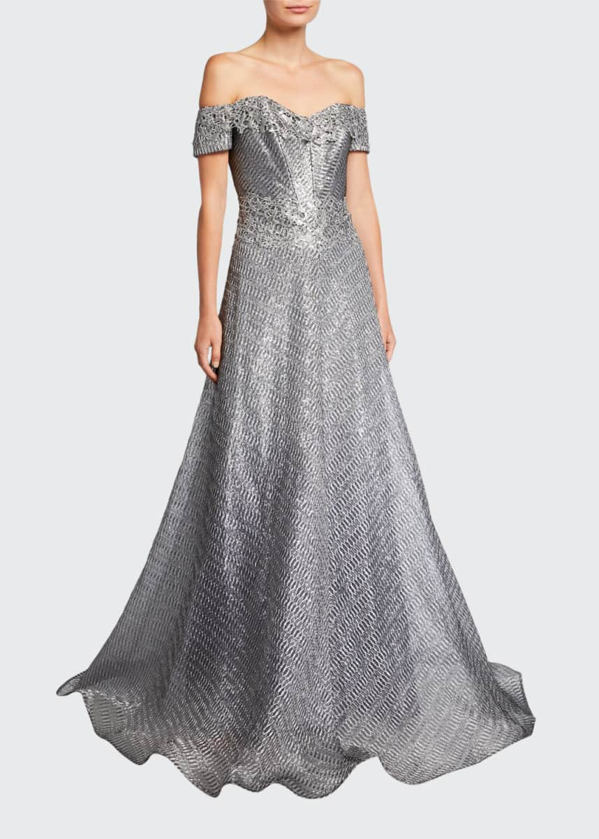 Rene Ruiz Off-the-Shoulder Short-Sleeve Gown