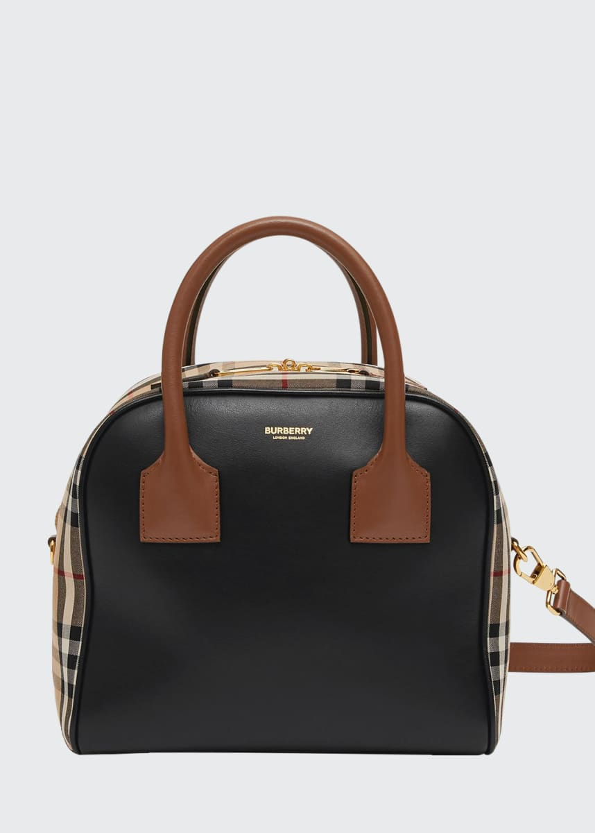 Burberry Vintage Check and Leather Top Handle Bag