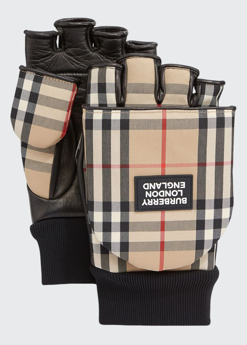 Burberry Men's 3-in-1 Leather & Check Gloves
