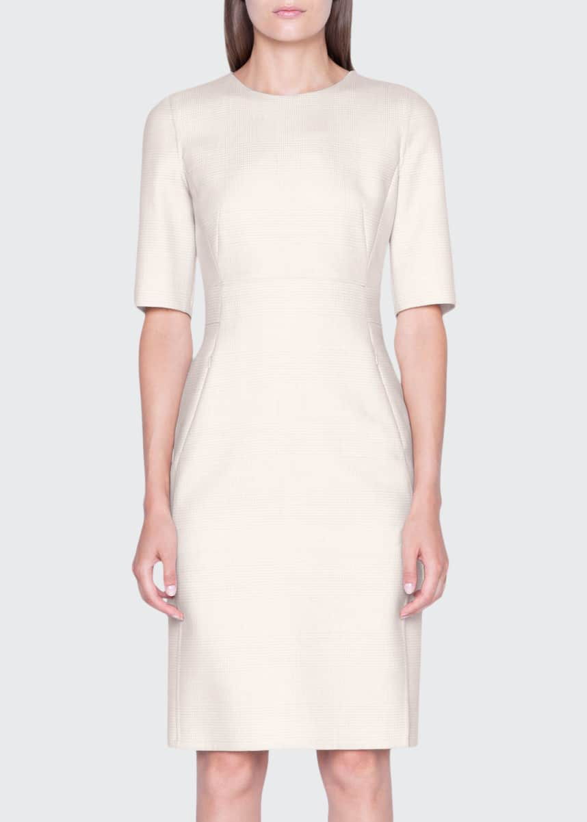 Akris Checked Wool 1/2-Sleeve Dress