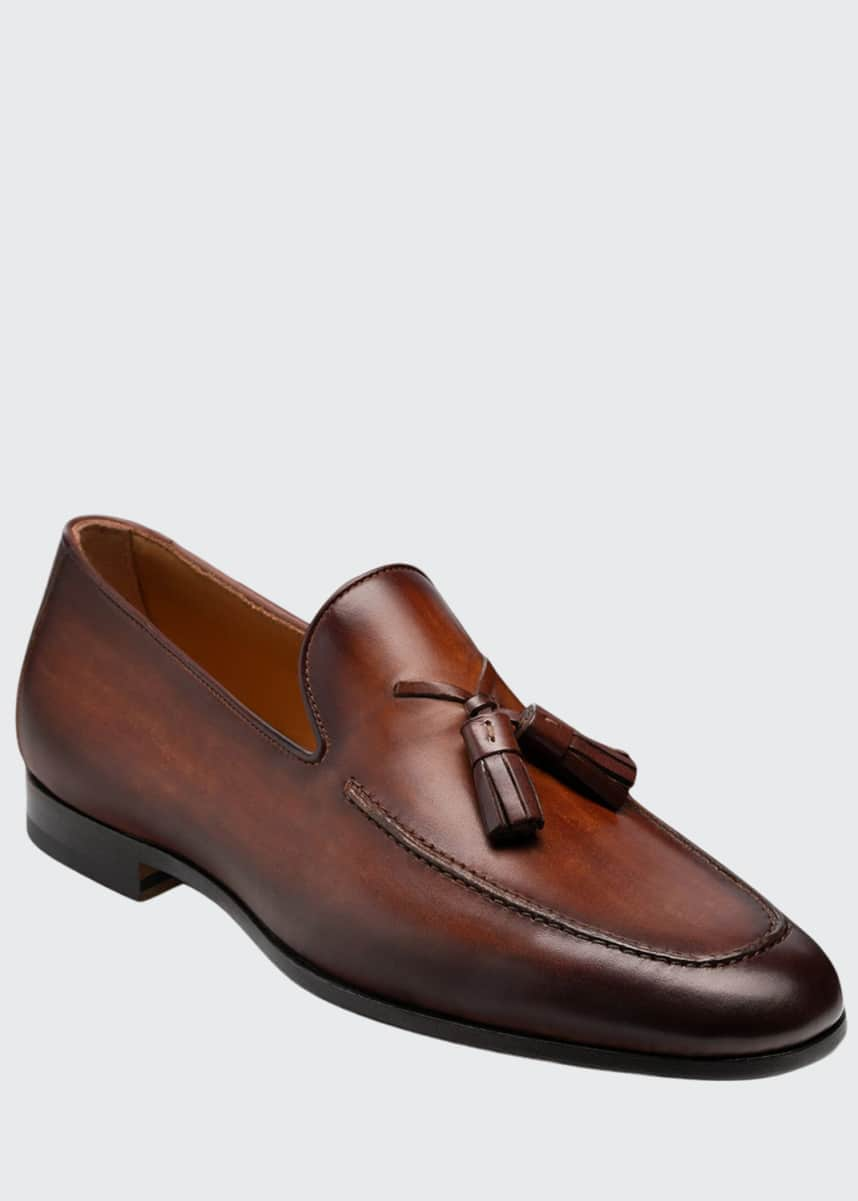 Magnanni for Neiman Marcus Men's Super Flex Leather Tassel Loafers